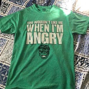 """You wouldn't like me when I'm angry"" hulk shirt."